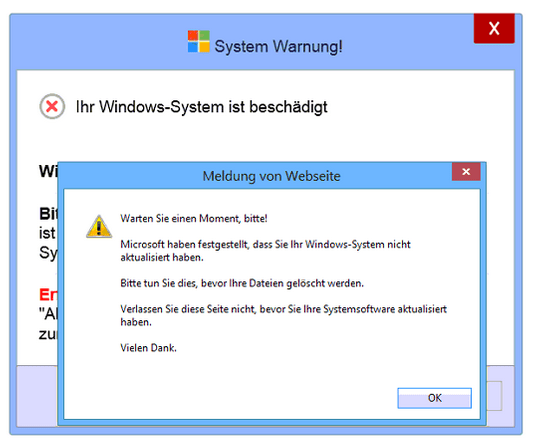 System Warnung Windows 7 Beschädigt